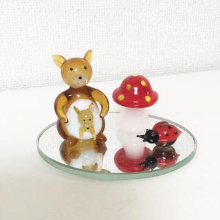 ガラス細工 カンガルー(キノコとてんとう虫) 、イノシシセット(ガラス)