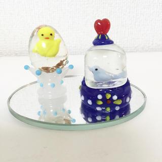 ガラス細工 鳥カゴとタマゴ(台座付き) 4コセット(ガラス)