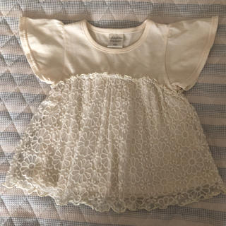 futafuta - ⑮【futafuta】フラワー刺繍Tシャツ 100cm レース 女の子 トップス