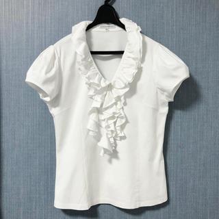 ナラカミーチェ(NARACAMICIE)のNARACAMICIE 白 半袖のコットンスムースフリルブラウス(シャツ/ブラウス(半袖/袖なし))