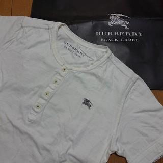 バーバリーブラックレーベル(BURBERRY BLACK LABEL)の美品 BURBERRY BLACK LABEL ヘンリーネックTシャツ ホワイト(Tシャツ/カットソー(半袖/袖なし))