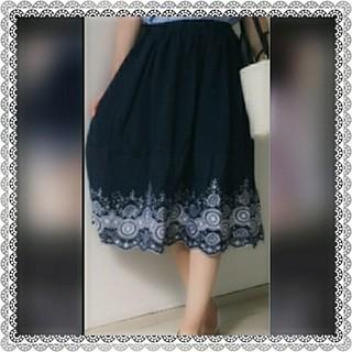 シマムラ(しまむら)の☆新品タグ有☆しまむら 刺繍フレアスカート ネイビー(ロングスカート)