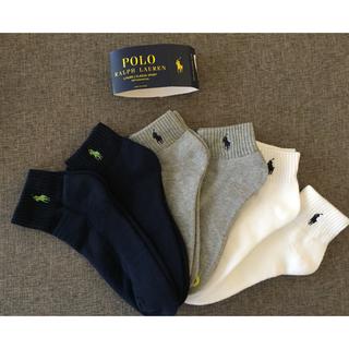 POLO RALPH LAUREN - 新品セール  POLOラルフローレン ロゴ入り ソックス メンズ 3足セット