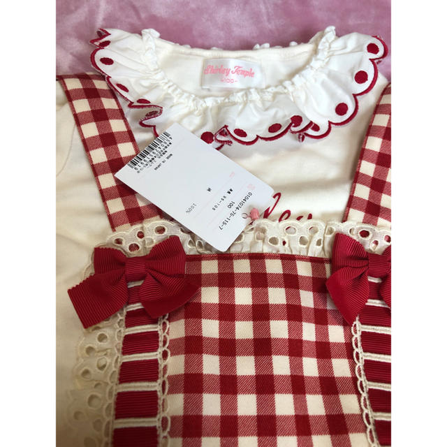 Shirley Temple(シャーリーテンプル)のシャーリーテンプル ギンガムチェック ワンピース 100 赤 エプロン キッズ/ベビー/マタニティのキッズ服女の子用(90cm~)(ワンピース)の商品写真