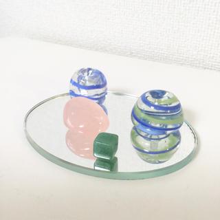 ガラス細工 お香立て2コ、ストーン2コセット(ガラス)