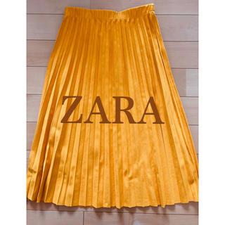 ザラ(ZARA)のZARA プリーツスカート イエロー(ロングスカート)