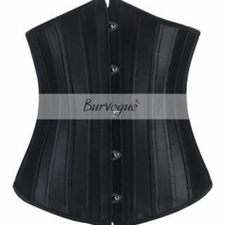 Burvogue XS コルセット 黒 24p 強化スチールボーン(エクササイズ用品)