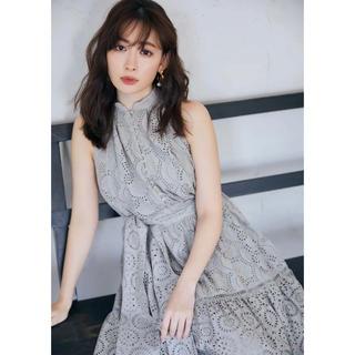 snidel - Lace-trimmed Belted Dress Sage-S
