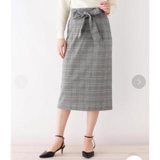 オペークドットクリップ(OPAQUE.CLIP)のOPAQUE.CLIP ◆サッシュリボン付きチェックタイトスカート(ひざ丈スカート)