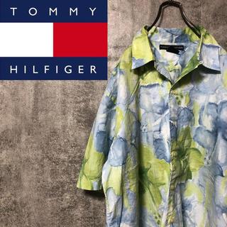 TOMMY HILFIGER - 【激レア】トミーヒルフィガー☆ロゴタグ入り水彩花柄オープンカラーアロハシャツ
