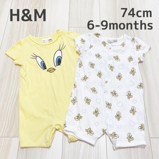 H&M - H&M ♥ トゥイーティー 半袖 ロンパース 2枚セット