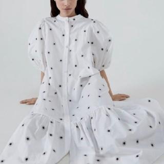 ZARA - Mサイズ 刺繍入りミディワンピース