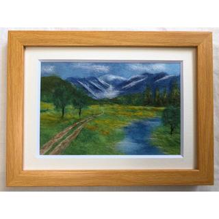 ●即購入可●和紙ちぎり絵『連峰と湿地』葉書サイズ原画(絵画/タペストリー)