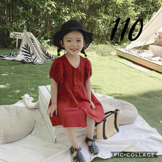 petit main - 即納◆ 韓国子供服 110 くすみ パフスリーブ ワンピース 赤 キッズ 夏服