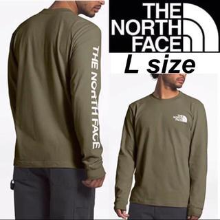 THE NORTH FACE - ノースフェイス 袖ロゴ ロンT 長袖 Tシャツ オリーヴ ロングスリーブ L