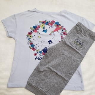 ユニクロ(UNIQLO)のユニクロ キッズ ムーミンプリントパジャマ ブルー(パジャマ)