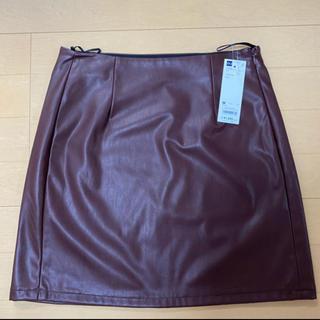 ジーユー(GU)の新品未使用タグ付き! GU レザー風スカート(ミニスカート)