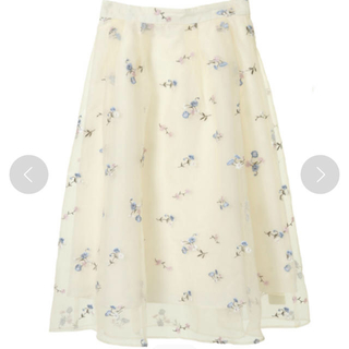 トランテアンソンドゥモード(31 Sons de mode)のトランテアン オーガンジー刺繍スカート(ひざ丈スカート)