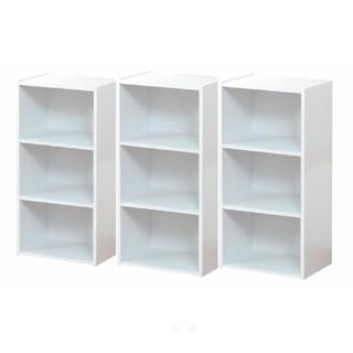 【送料無料】カラーボックス3段  3個セット展示品(ホワイト)(本収納)