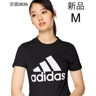 アディダス(adidas)の新品タグ付き adidasアディダス Tシャツスポーツウェア レディース半袖黒M(Tシャツ(半袖/袖なし))
