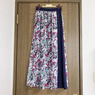 IENA - 【新品未使用】フラワー 花柄 ネイビー  ロングスカート