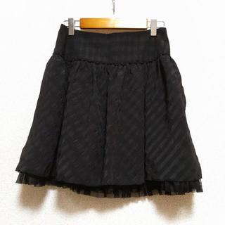 アールエフ(R・F)のR・F 裾チュール フリルブラック スカート アールエフ 黒チェック(ミニスカート)