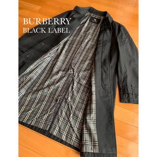 バーバリーブラックレーベル(BURBERRY BLACK LABEL)のバーバリー ブラックレーベル ステンカラー コート ブラック×グレー(ステンカラーコート)
