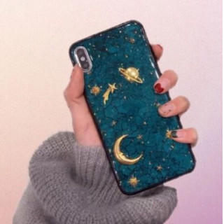 iPhoneケースX/Xs 月 星空3D 高級感 夜空 宇宙(iPhoneケース)