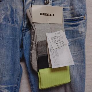 ディーゼル(DIESEL)のDIESEL ディーゼル スポーツソックス 蛍光イエロー×グレー×ブラック(ソックス)