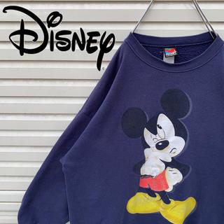ディズニー(Disney)のディズニー スウェット ミッキー デカロゴ USA製 90s ゆるダボ 激レア(スウェット)