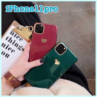 ✨iPhone11Pro✨ 数量限定 韓国 携帯ケース ハート 緑 人気(iPhoneケース)