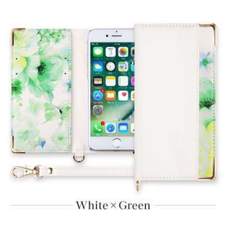 PUレザーフラワー柄手帳ケース iPhone6s/7/8 ホワイト×グリーン(iPhoneケース)
