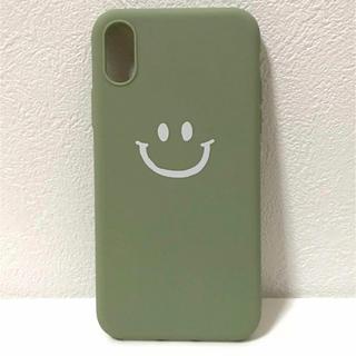 iPhoneX XS用ケース スマイル♪くすみグリーン☆(iPhoneケース)