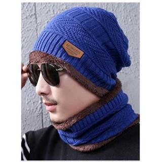 メンズ ニット帽 ネックウォーマー セット バイカラー キャップ マフラー(ニット帽/ビーニー)