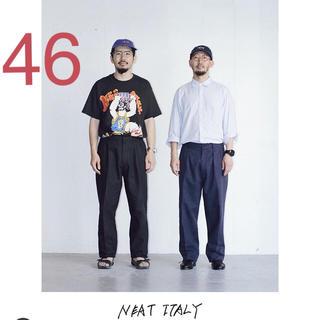 46 NEAT ITALY ブラック レショップ パンツ