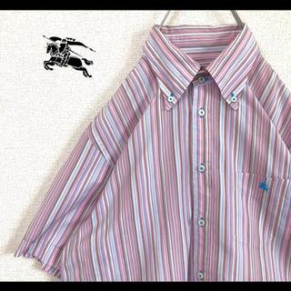 バーバリーブラックレーベル(BURBERRY BLACK LABEL)のバーバリーブラックレーベル BDシャツ ストライプ ピンク サイズ3 90s(シャツ)