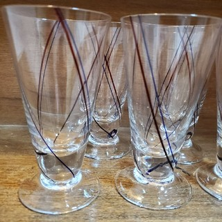 昭和レトロ アンティーク 脚つき グラス 5個セット(ガラス)