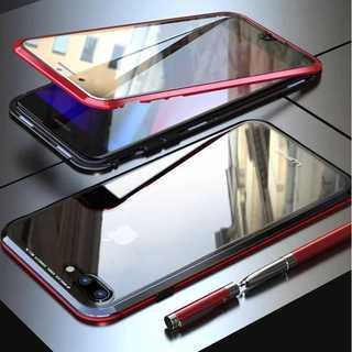強化ガラス ケース iPhone8 / iPhone7 ガラスケース 黒-赤(iPhoneケース)