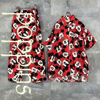 ディズニー(Disney)のpoppins vintage パジャマシャツ レッド M メンズ(シャツ)
