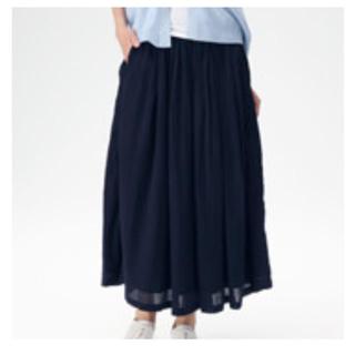 MUJI (無印良品) - 無印良品 楊柳イージーマキシスカート XS~S ダークネイビー
