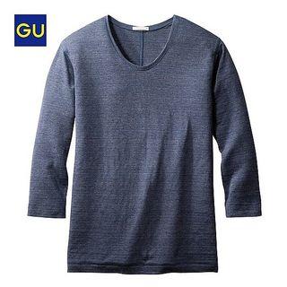 ジーユー(GU)の【新品】 GU UネックT(7分袖)ブルー S(Tシャツ(長袖/七分))