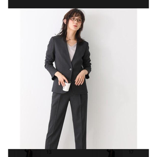 ニッセン(ニッセン)のウォッシャブル スーツ ノーカラージャケット セットアップ チャコールグレー(スーツ)