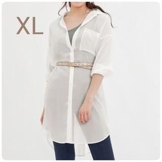GU - 新品・未使用!!【XL】GU/シアーロングシャツ/オフホワイト