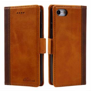 ブラウン 高品質レザー 手帳型 スマホケース iPhoneケース カード収納(iPhoneケース)