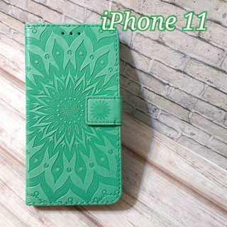 ◇iPhone11用◇ひまわり ライトグリーン  手帳型ケース◇N1(iPhoneケース)