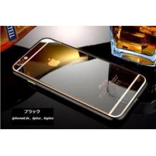 iPhone6/6s前後鏡面ガラス&アルミバンパー ブラック(iPhoneケース)