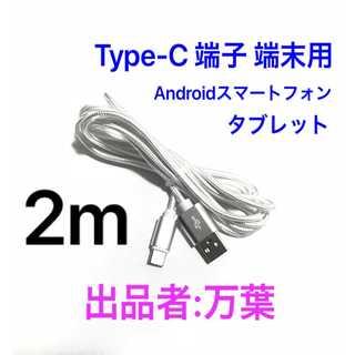 シルバー 2m 1本 Type-C 充電器 typeC USBケーブル(バッテリー/充電器)