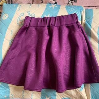 ジーユー(GU)のGU  ボンディングスカート フレアスカート 紫 パープル 厚手(ミニスカート)