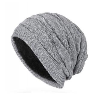 ニット帽 グレー メンズ 裏ボア付き ビーニー ワッチキャップ ニットキャップ(ニット帽/ビーニー)