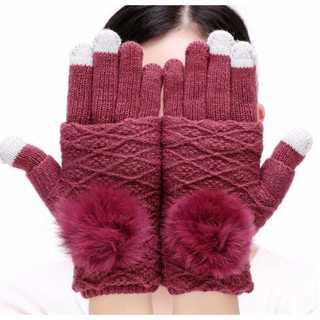 レッドワイン 手袋 レディース ニット 指無し タッチスクリーン対応 防寒 極暖(手袋)